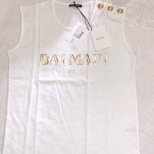 Balmain Logo Print Shoulder Button T-shirt Small
